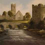 Claregalway Castle and Abbey, Oils/Canvas by Galway artist, Clive Hughes