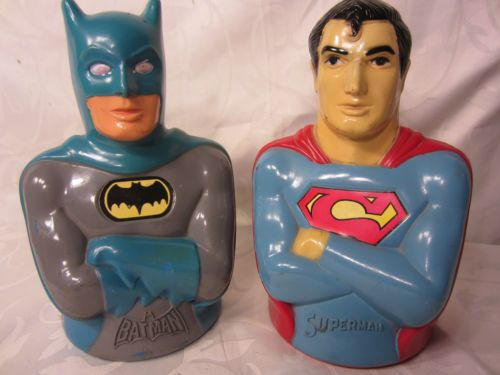 superman batman vintage mego figure bust bank set of 2 dc. Black Bedroom Furniture Sets. Home Design Ideas