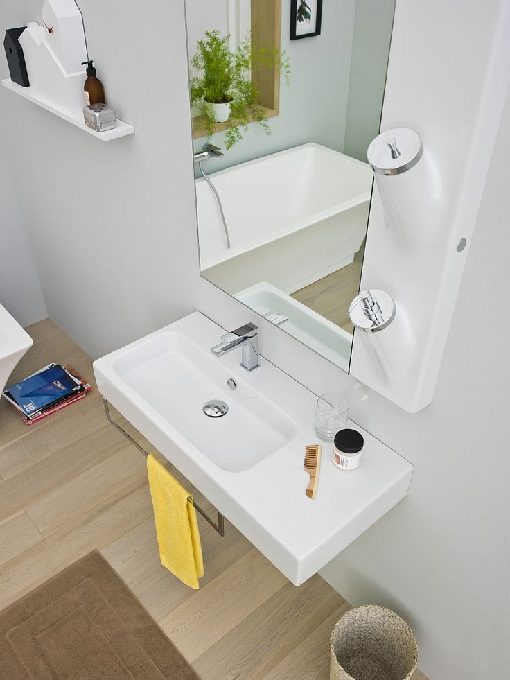 Bathroom:Stunning Bathroom Design Decorating Ideas With Smart Washbasin With Stainless Steel Bath Faucet Also Glass And Comb Also Yellow Towel And Mirror Also Shelves Books And Bathtub And Laminate Floor Inspiring Small Bathroom Design Ideas with Beautiful and Attractive Washbasins