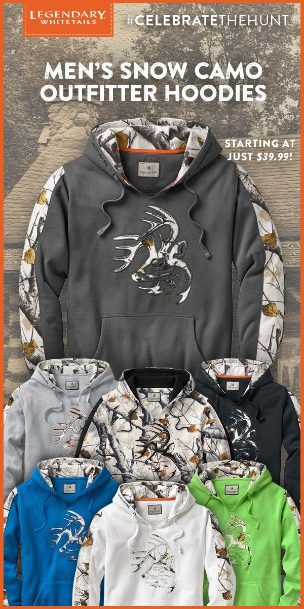 Take on the tundra in the best winter camo hoodie of them all! Made from a heavyweight cotton and polyester blend, this sweatshirt features a cut-through Signature Buck applique and sleeve accents in Big Game Camo® - Snow. Complete with a Legendary® logo embroidery on the edge of the hood, this awesome hoodie will quickly become your all-around favorite!