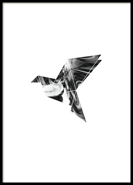 A graphic and modern poster with a geometric design of a dove. A design that is perfect for interior design in gray shades, but also nice to balance out a more colorful decor. Place it in one of our nice frames and you have a complete picture. www.desenio.com