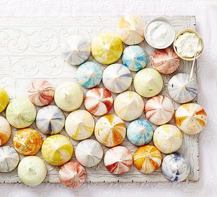Rainbow ripple meringues