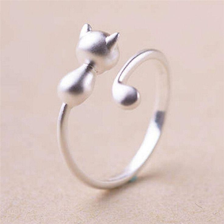 Women's Stainless Steel Cat Wrap Ring Size Adjustable KJr7I3qm0