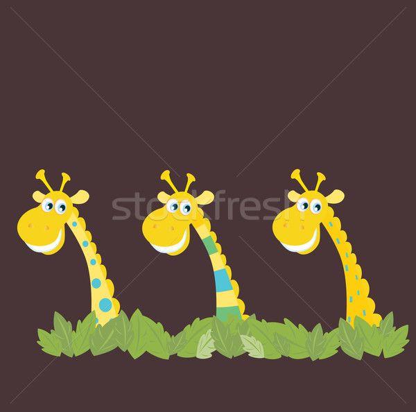 Stock fotó: Három · afrikai · szafari · citromsárga · dzsungel · vektor
