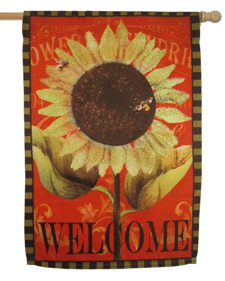 Sunflower Welcome Glitter Suede Garden Flag