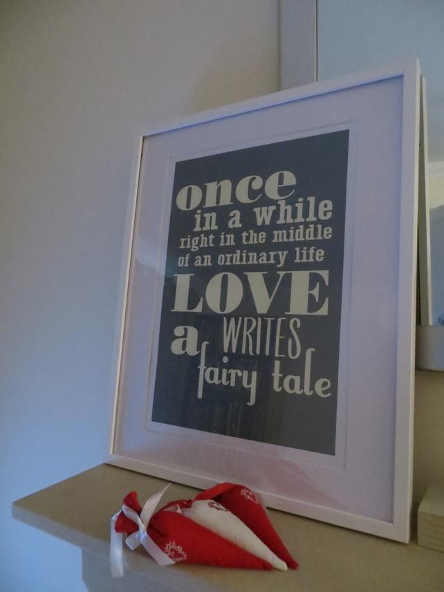 Wedding Gift - LOVE writes a fairy tale  A3 Art Print £12.25