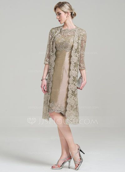 Sheath/Column Scoop Neck Knee-Length Taffeta Mother of the Bride Dress (008085280)