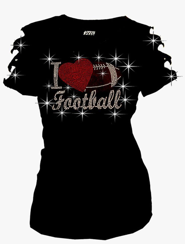 Bling Bling  I Love FootBall & Hearts RHINESTONE Shirt Ripped Cut Out S~3X Short #Fashion2ne1Basic #BasicTee