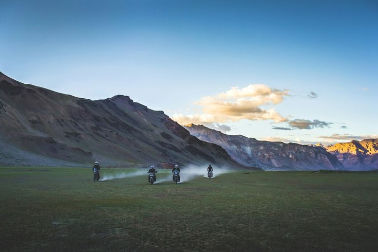 Royal Enfield chaps at the sunset in Sarchu, Himachal Pradesh.