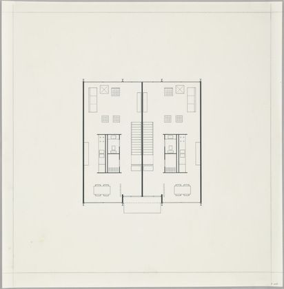 Ludwig Mies van der Rohe Pavilion Apartments and Town Houses, Lafayette Park, Detroit, MI, Plan (Two-story town house. First-floor plan.) 1955-63