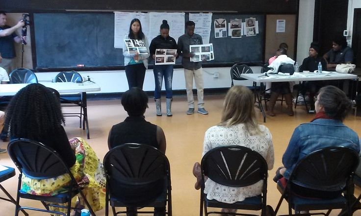 Students presented mural ideas to a panel of city officials and community leaders.
