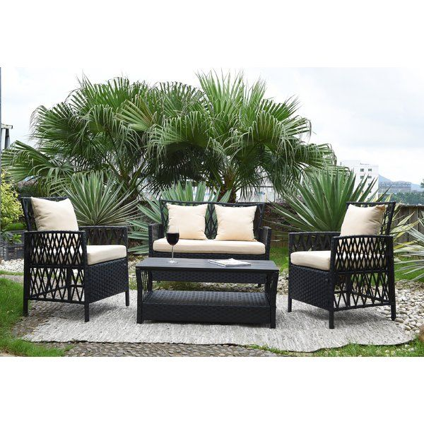 Ackerson 4 Piece Sofa Seating Group With Cushions With Images Outdoor Sofa Sets Sofa Set Conversation Set Patio