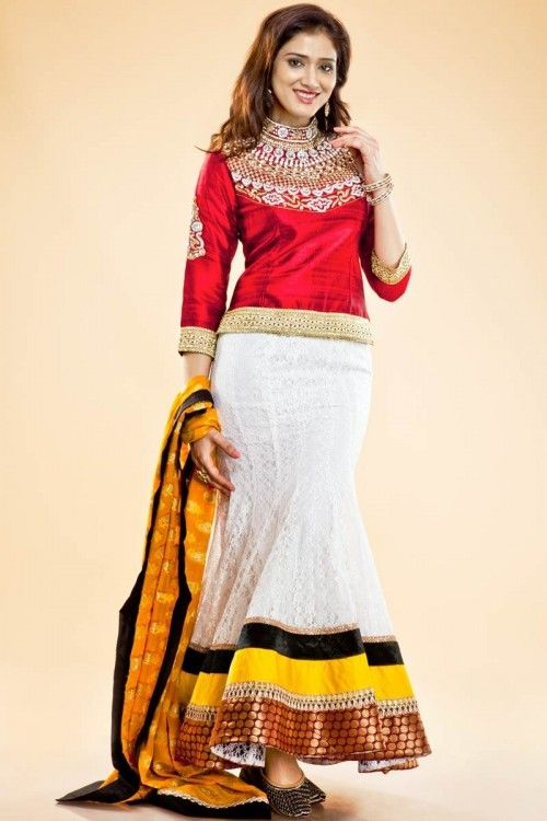 Red With White Lehenga Choli Price: £95 Andaaz Fashion new arrival designer Red and white Lehenga Choli. Embellished with bottom colour is white & dupatta colour is yellow. neck line & sleeves embroidered with naksi is perfect for party, occasion, wedding.  http://www.andaazfashion.co.uk/womens/lehenga-choli/red-with-white-lehenga-choli-1341.html
