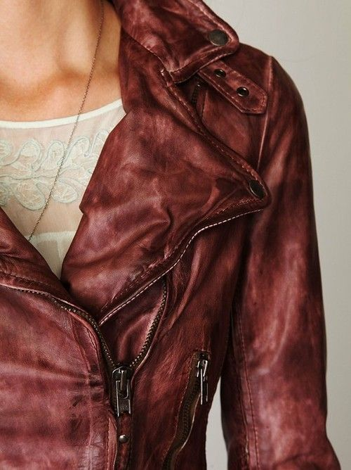 Vintage Wine Leather Biker Jacket