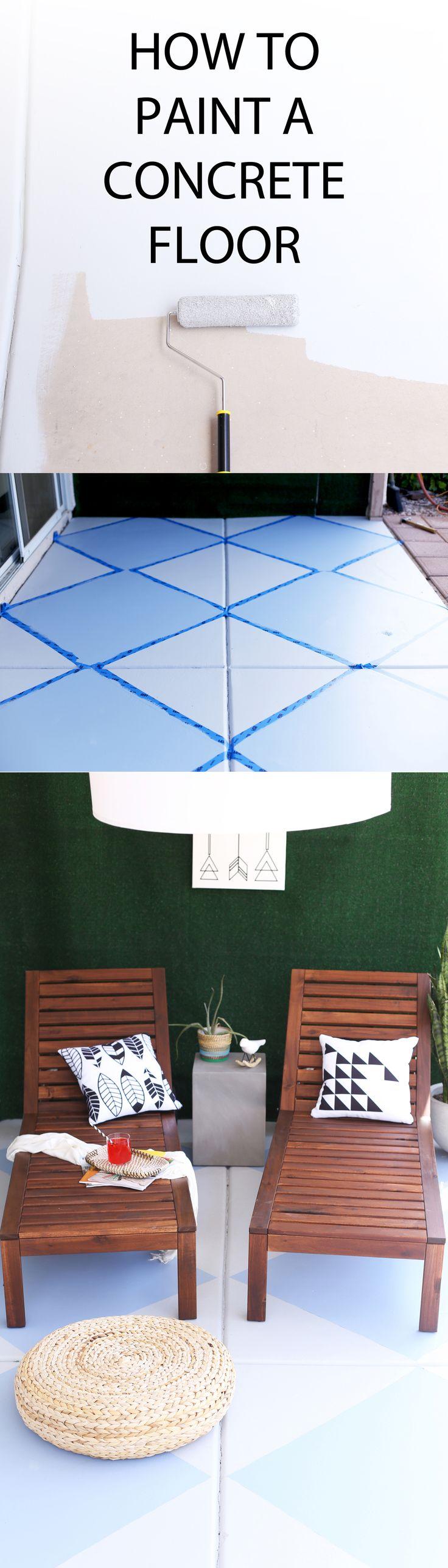 how to paint a diamond pattern on an outdoor patio concrete floor | Kristi Murphy