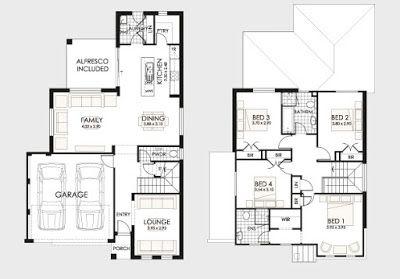 Plano de casa de dos pisos planos pinterest b squeda for Niveles en planos arquitectonicos