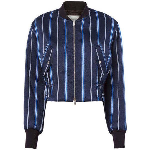 3.1 Phillip Lim Striped Bomber Jacket ($695) ❤ liked on Polyvore featuring outerwear, jackets, navy, navy blue jacket, navy striped jacket, flight jackets, navy bomber jacket and blue bomber jackets