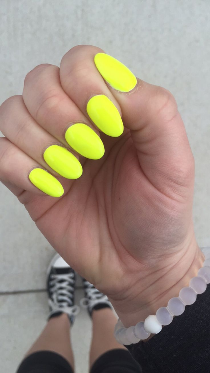 neon yellow almond nails