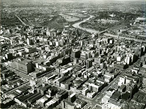 Description: Aerial photograph of Melbourne produced by the Australian News and Information Bureau and supplied to the British Central Office of Information. Date: 1956 Our Catalogue Reference: INF 10/29/11 This image is from the collections of The National Archives. Feel free to share it within the spirit of the Commons. For high quality reproductions of any item from our collection please contact our image library.