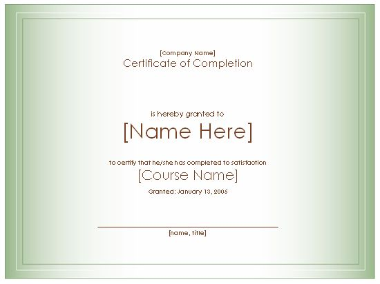 Award Certificate For Completion Of Course   Free Certificate Templates In  Academic Award Certificates Category  Certificates Of Completion Templates