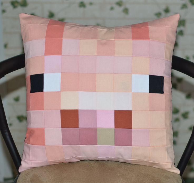 Minecraft Inspired Pig Pillowcase by PixelPillowsByLiz on Etsy