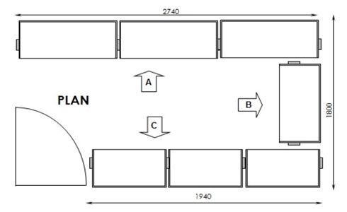 Floor plan layout of the Ximula, custom built wardrobe.