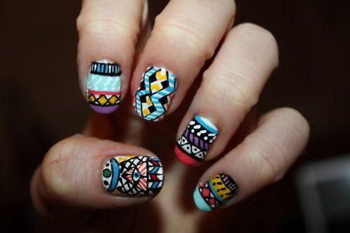 .: Aztecnails, Nails Art, Tribalnails, Nailart, Nails Design, Tribal Nails, Tribal Prints, Prints Nails, Aztec Nails