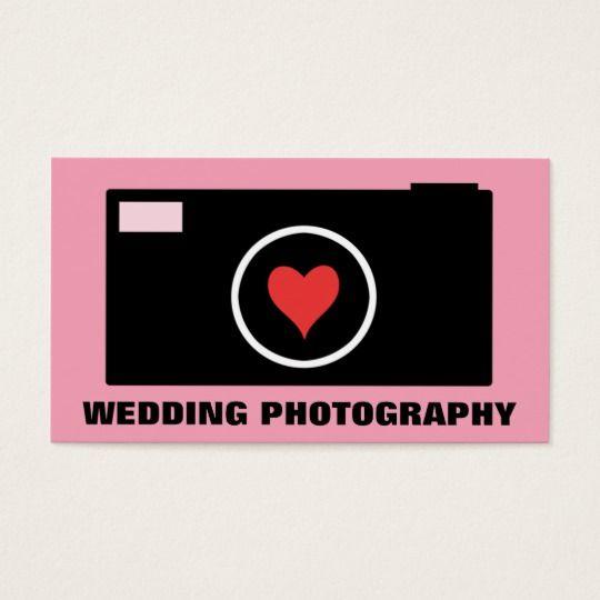 Pink Camera Wedding Photography Business Card