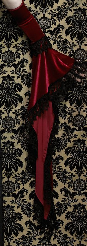 Lucilla Long Bell Sleeves in Velvet and Venise Lace by rosemortem
