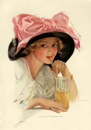 Harrison Fisher Edwardian woman Gibson girl enjoying a lemonade in a big black hat and pink bow