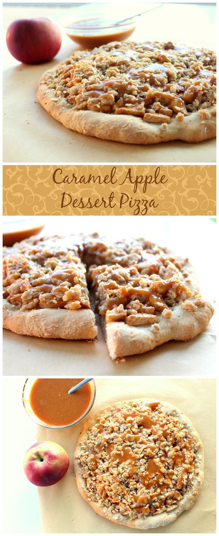 Caramel Apple Dessert Pizza | Gooey Apples, Brown Sugar Streusel and Caramel Drizzle make this the best dessert pizza ever.