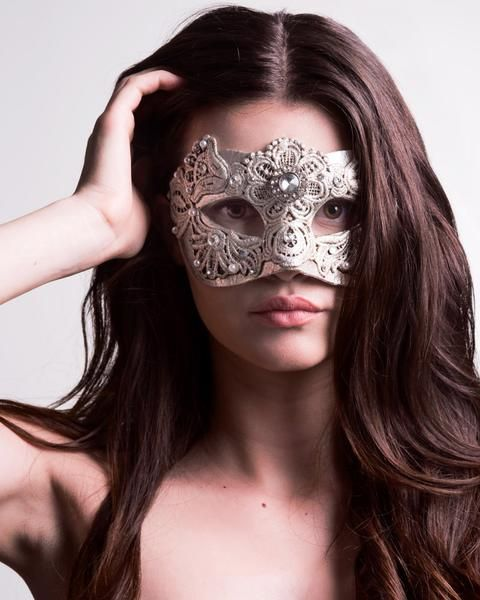 Colombina Macrame Silver- This is the most feminine of all masks: delicate with lace, decadent with jewel and bead embellishments, and regal with it's shimmery silver finish. vivomasks.com
