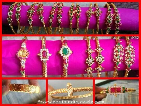 22K Gold Ruby Emerald Bangle Designs