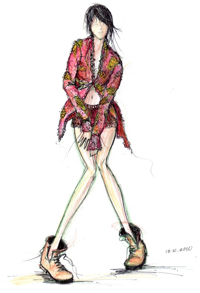 Color Pencil and Ink Fashion Sketch by m-squarepress
