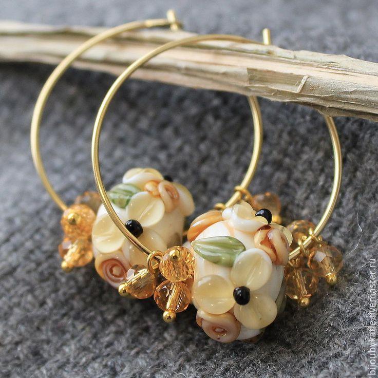 Купить Серьги кольца лэмворк сливочный пломбир - золотой, серьги, сережки, золотые серьги