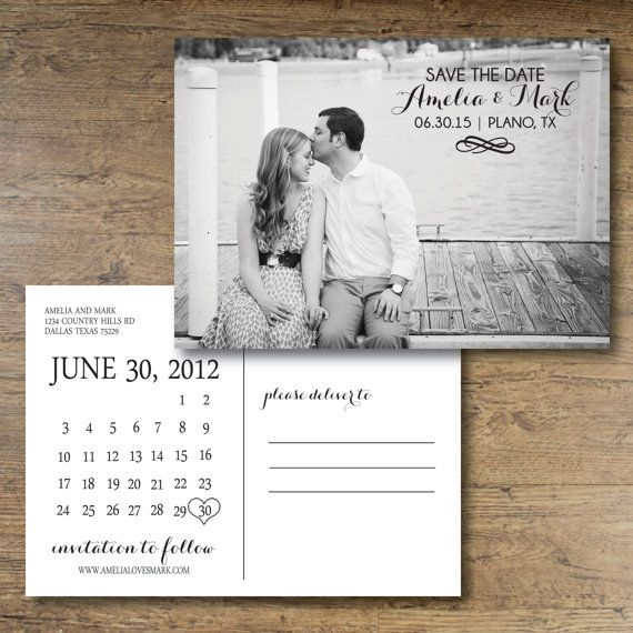 Printable Save The Date Postcard Chic Charm By Ohdarlingpaper