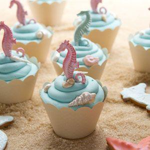 Seashell and Seahorse Cupcakes