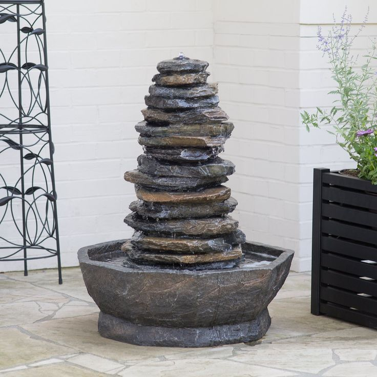 solar garden fountains sale metal stone outdoor water