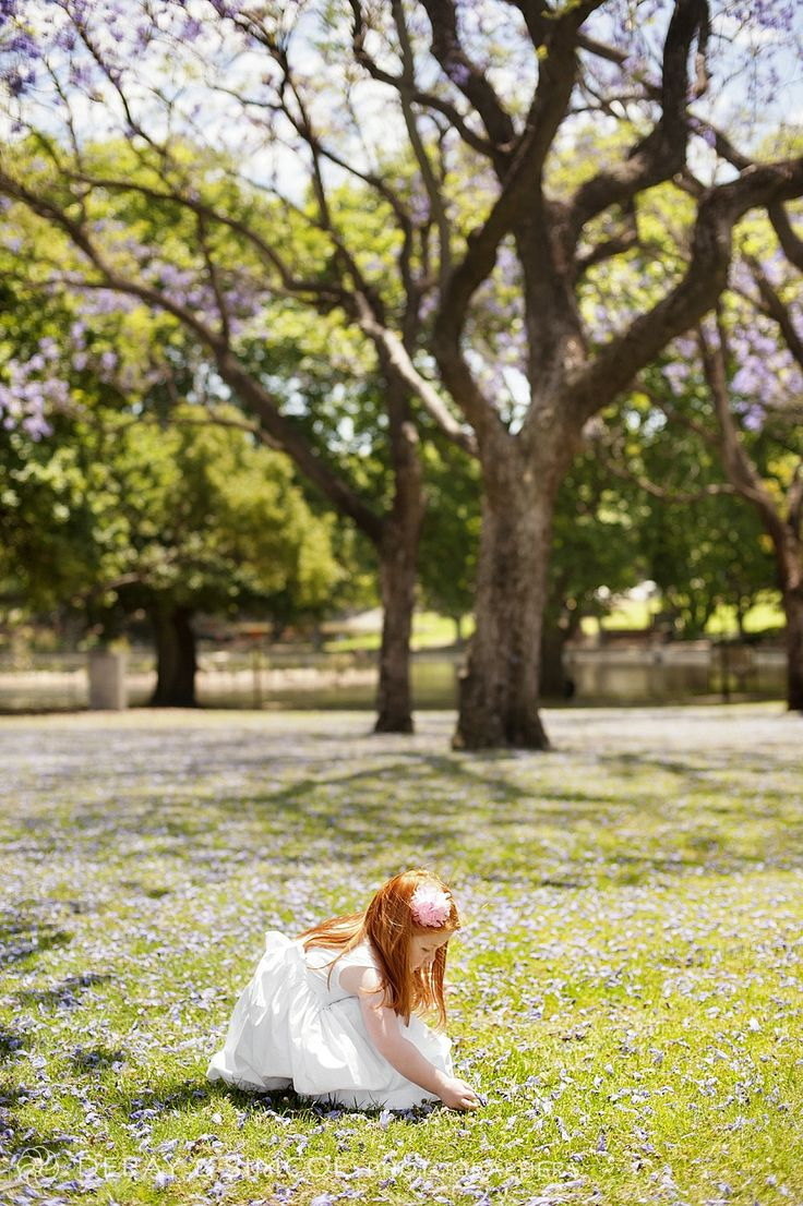 What to wear to a family portrait? Simple white dress on a stunning red headed toddler, simply beautiful. Gorgeous Jacarandas in Hyde Park Perth provide purple flowers in the background. Photography by DeRay & Simcoe
