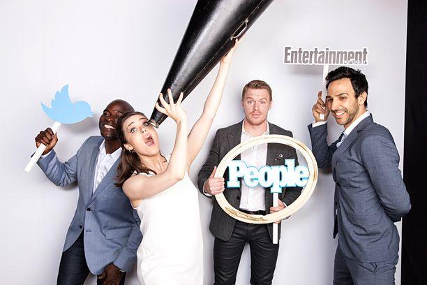 EW/People TV Upfronts Party: Stars Jump In for Some Twitter Photo Booth Fun | Hisham Tawfiq, Megan Boone, Diego Klattenhoff, Amir Arison | EW.com