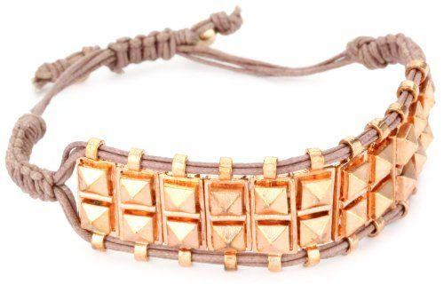 Shashi Rose Gold-Plated with Nude Cord Rocker Stud Bracelet Shashi. $80.00. Shashi is a boho-luxe line of accessories. Shashi bracelets come with an adjustable Chinese knotting clasp which allows a perfect fit for all sizes. Made in USA