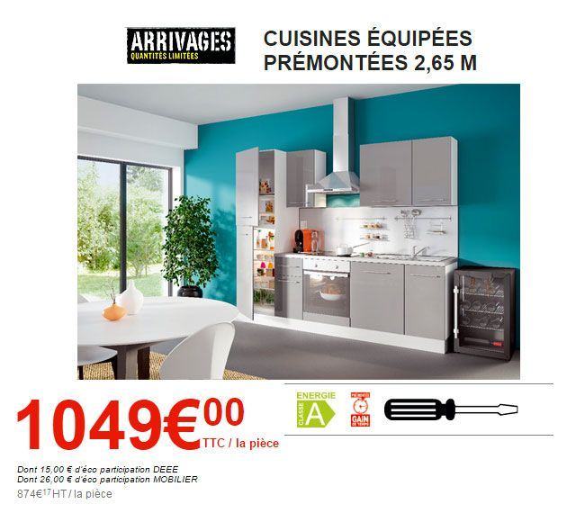 excellent cuisine brico depot entirement quipe with meuble four brico depot. Black Bedroom Furniture Sets. Home Design Ideas