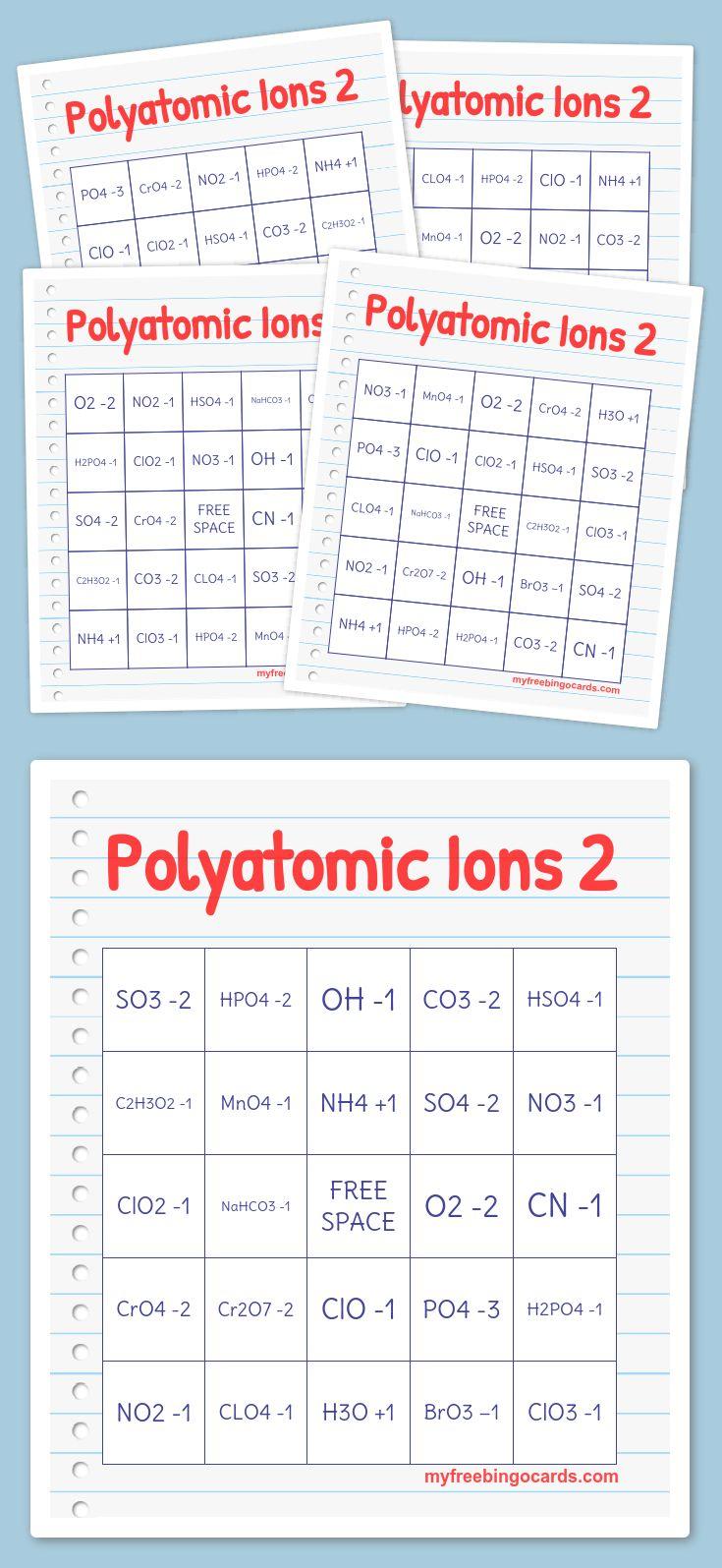 Best 25 polyatomic ion ideas on pinterest chemistry chemistry polyatomic ions 2 bingo gamestrikefo Images