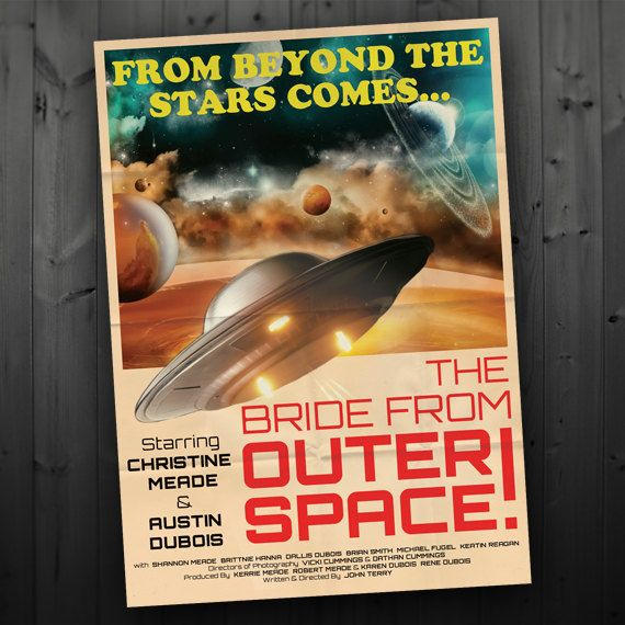 Wedding invitations that look like sci-fi movie posters!
