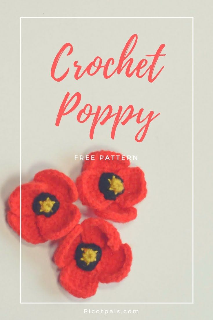 13 best poppies images on pinterest crochet poppy pattern free pattern for a crocheted poppy thats quick to stitch up bankloansurffo Image collections