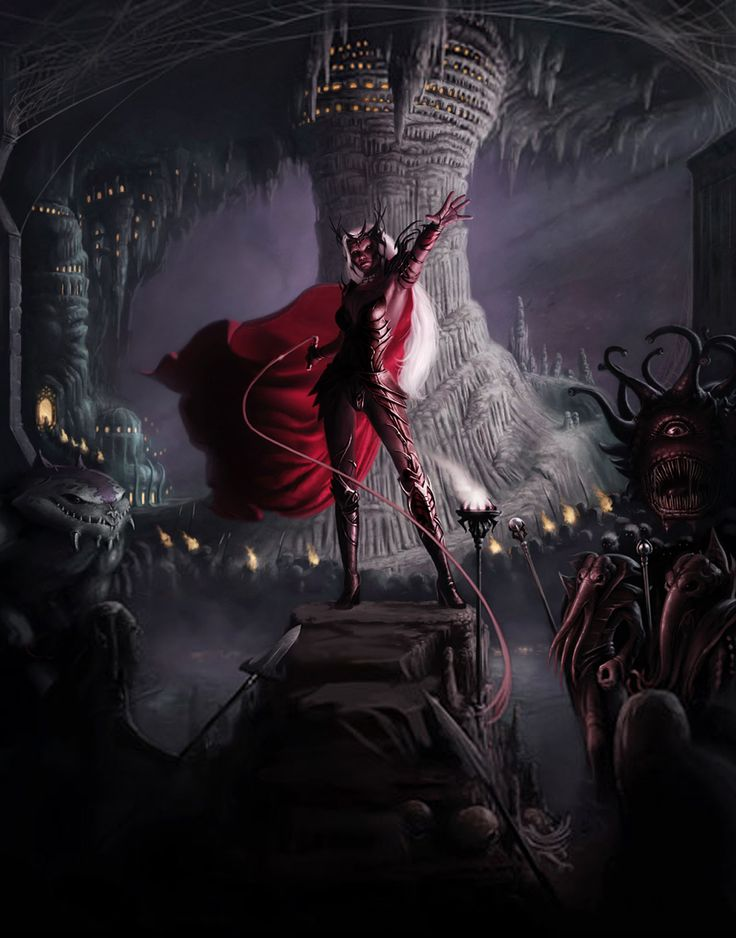 d&d dark elf Locandina di Orde del Sottosuolo - drow, slaad, mind flayer e beholder Videogame: Neverwinter Nights, Hordes of the Underdark (2003-12) © Atari, Wizards of the Coast & Hasbro