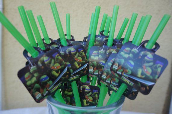 16 Green Plastic Teenage Mutant Ninja Turtles Straws With