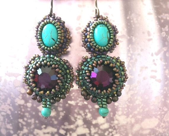 Bead embroidery earrings with fuchsia and turquoise cabochons with vintaj earhooks, lead and nickelfree.