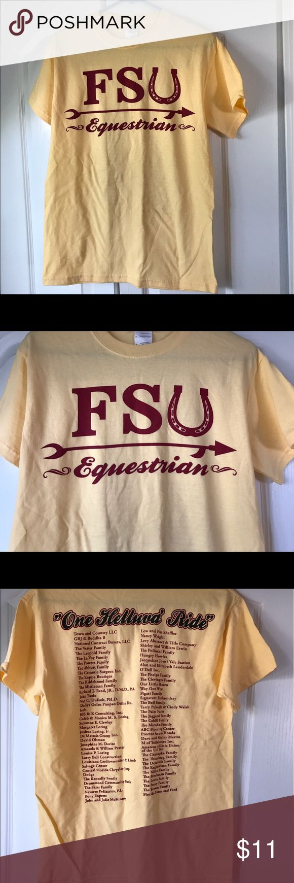 Florida State University Equestrian women's small Florida State Women's small equestrian tshirt. Runs big for a small FITS more like a medium. Gorgeous Crimson and gold colors. Shirt flawless. Premier preworn condition. No rips, stains, holes, tears, or excess wear. Looks brand new. Featured on the SAINTS VINTAGE RESALE channel on YouTube. https://youtu.be/RZ3O5yRPflc unknown Tops Tees - Short Sleeve