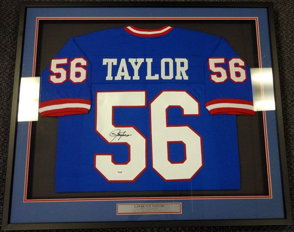 lawrence taylor autographed new york giants blue framed jersey psadna